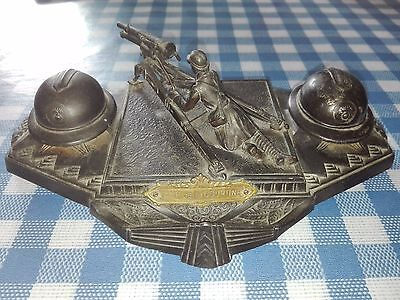 WW1 Trench Art Inkwell - French Soldier with cannon