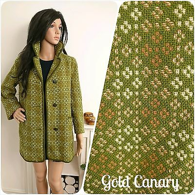 Vintage 60s Green Welsh Tapestry Melin Mod Geo Wool Coat Jacket M L 12 14 16 40
