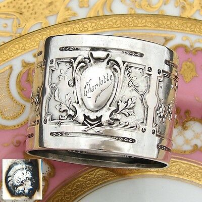 "Antique French Sterling Silver Napkin Ring, Ornate Classical Style, ""Charlotte"""