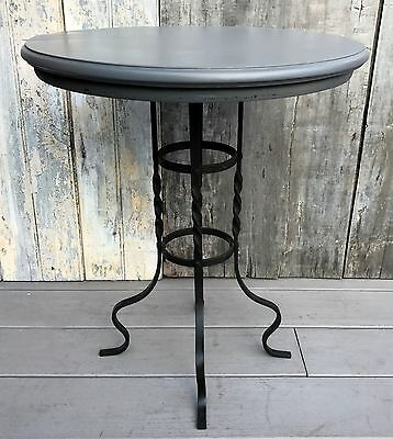 Antique French Gueridon Round Gray Wood Top on Wrought Iron Base Cafe Table 1920