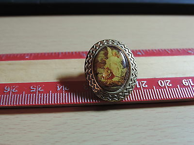 Children being watched by Guardian Angel bordered  Lapel Hat Pin 14E