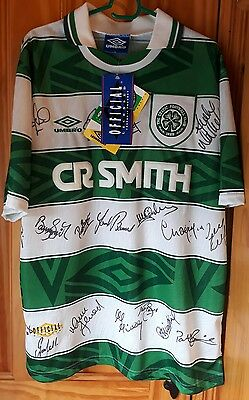 *bnwt* Squad Signed 1993-1995 Glasgow Celtic Home Shirt (Large) - Rare Classic!!