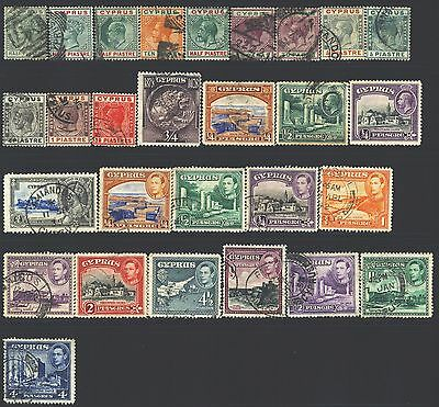 CYPRUS Collection of 28 Used 1880-1953 Era All Different