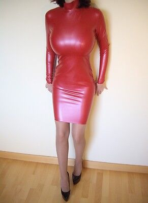 Westward Bound Neu Latex Gummi Knielänge Kleid Rot Rubber 34 36