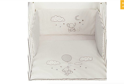 Elephant Cot Bumper Set Bed All Round Baby Piece Nursery Bedding