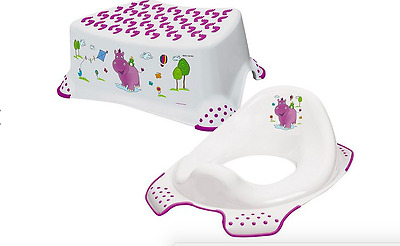 Happy Friends Hippo Toddler Toilet pottyTraining Seat & Step Stool Combo White