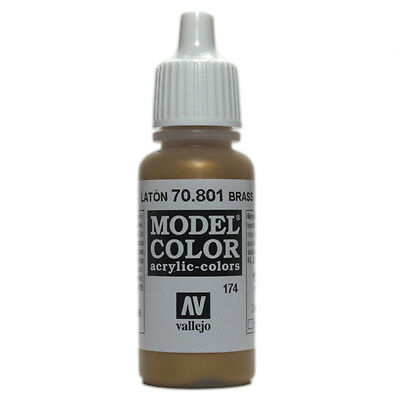 Vallejo Model Color: Brass - VAL70801 Acrylic Paint Bottle 17ml 174