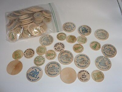 Lot Of 104 Mixed Vintage Advertising Buffalo Wooden Nickels And Dollar Tokens!