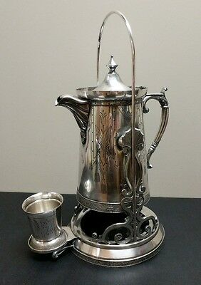 Antique Victorian Pelton Bros Silverplate Tipping Ice Water Pitcher with Stand
