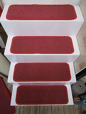 13 LARGE red and grey Telenzo contract gel back stair pads treads 64cm x 22cm