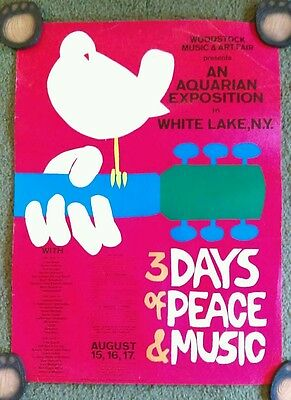 "WOODSTOCK - WHITE LAKE NY Poster 24"" x 18""  c pics for wear /condition"