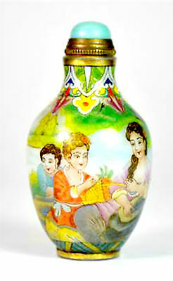 Stunning Chinese Enamelled Milk Glass Snuff Bottle