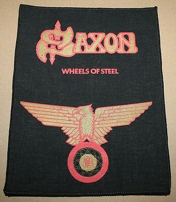 Saxon, Wheels of Steel, small printed Backpatch, Vintage 70's / 80's, rar, rare