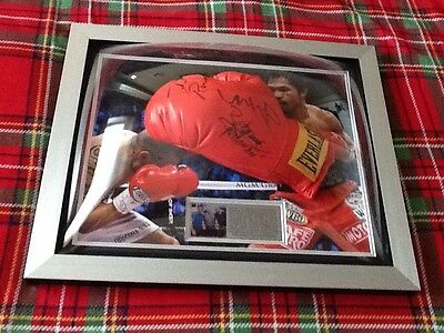 Triple Hand Signed Boxing Glove By Manny Pacquiao, Miguel Cotto & Freddie Roach