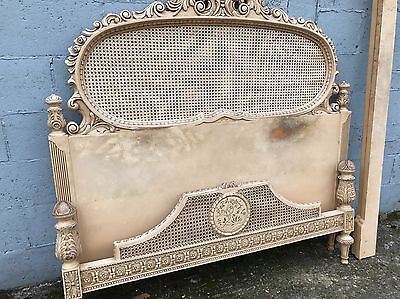 Rare, French, Antique, Vintage Original Painted King Size Bed, 160x200cm