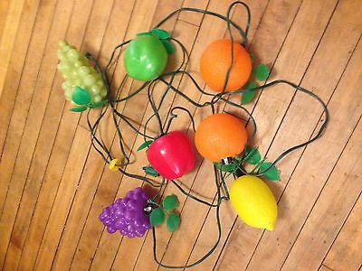 Vintage Blow Mold Plastic Fruit String Lights Camping Patio Party
