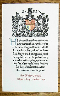 Reproduction WW1 Memorial Scroll - named to your Army casualty