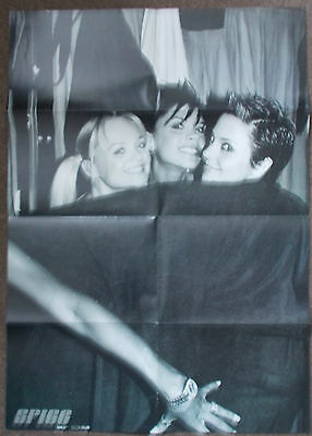 Spice Girls Fan Club double sided poster black & white Mel B Victoria Emma Mel C