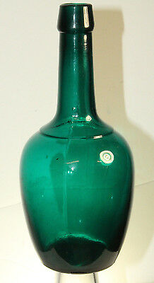 Antique Teal Blue Green Barber Perfume Back Bar Bottle 8 1/4'' Tooled Top