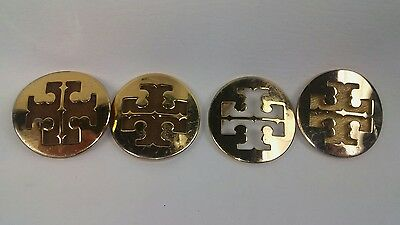 """TORY BURCH gleaming Gold 2"""" Medallion T Logo Badge 2 pairs for Flat or Wedges"""