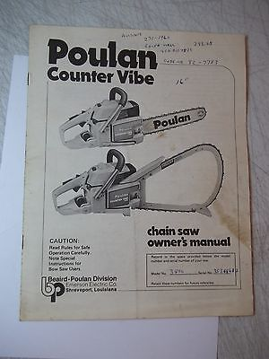 Vintage 1979 Poulan Counter Vibe Chain Saw Owners Manual W/writing On Cover