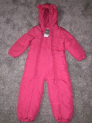 New Bnwt Girls Next 3-4 Years Pink Snow Suit All In One Shower Resistant
