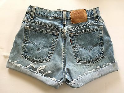 "Vtg 90s LEVIS 551 Faded Cut-Off USA Jean SHORTS 29"" M High Waist Cuffed Cutoff"