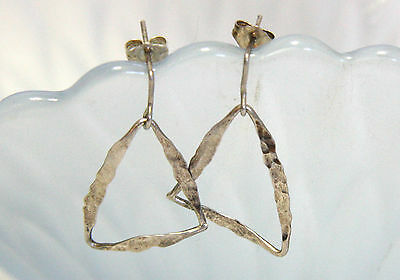 Hammered Triangle Stud Earrings in Solid Sterling Silver Handmade in Canada