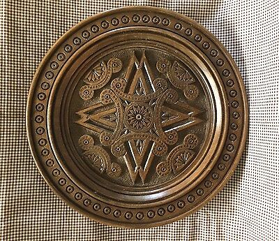 German hand carved wooden embossed plate w/ edelweiss Antique carving