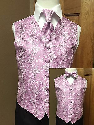 Vest Boys Bouquet / lilac Paisley Bow Tie Necktie Ring Bearer Wedding Party