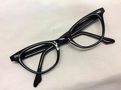 NOS Vintage Eyeglasses Cat Eye Graceline Black Authentic Korett Beauty K24