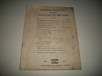 OPERATING INSTRUCTIONS for the ALLEN E-1402 VOLT-AMP TESTER ISSUE DATE 1955