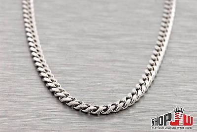 "14k White Gold Finish 3.5mm Miami Cuban Link Chain 26"" Necklace Mens .925 Silver"