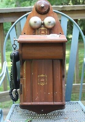 Jydsk Aktieselkab Antique 1920s Wall Hang Rotary Telephone Denmark Oak Western E