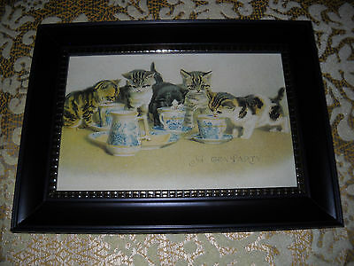 5 CATS TEA PARTY 4 X 6 black framed picture is a Victorian style animal print