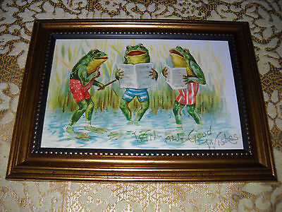 3 FROGS SING ALL GOOD WISHES 4 X 6 gold framed picture Victorian style wall art