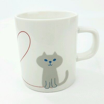 Cute Cat Mug Yuka Saji Miranda Oh My Cat Japan 8oz Gray Blue Bird Tea Cup Mug