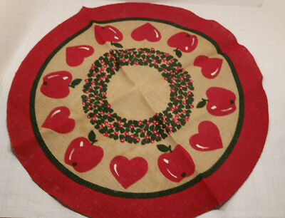 Scandinavian Tree Skirt 24 1/2in Round Burlap Red Apple Christmas