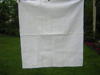 Fabulous 19th C Antique Crib Quilt Finely Quilted White Whole Cloth Pa German