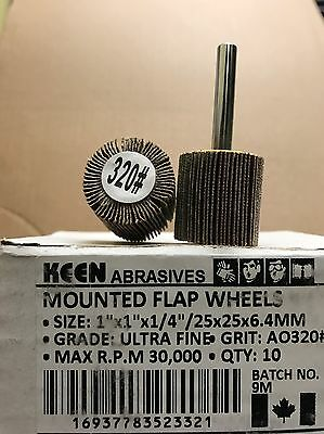 "Choice of grit, Keen Mounted Flap Wheels, 1"" x 1"" x 1/4"", 23263 (20/Pack)"