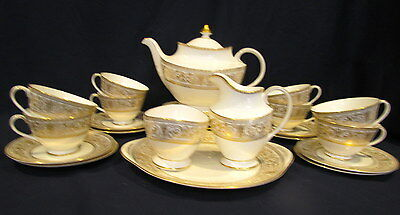 Royal Doulton China Sovereign Tea and Dessert Set Service for Eight 29 Pieces