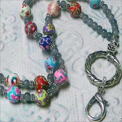 Beaded Lanyard necklace work ID badge key finder adjustable length Rainbow color