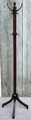 Antique Arts & Crafts Mission Oak Coat Rack Hall Tree Brass Double Hooks c. 1900