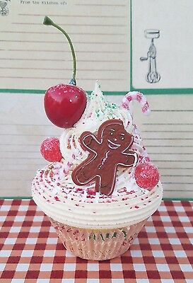 Festive Gingerbread Boy Fake Cupcake for Christmas Decorations, Photo props