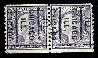 US Stamp Sc# 493 Used Pair City Coil Precancel Chicago ILL.