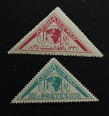 AFGHANISTAN TRIANGLE STAMPS OF 1952 Sc #400 & 401 MVLH TO HONOR UN