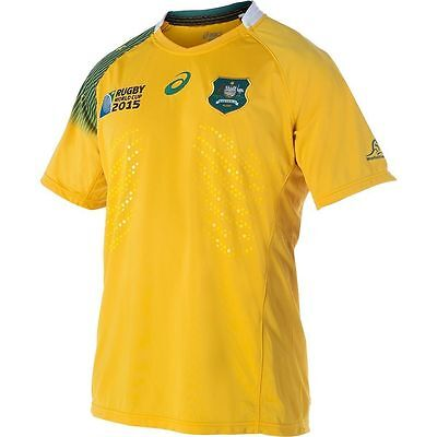 Official Asics Wallabies 2015 Rugby World Cup Mens Home Jersey size L
