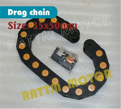 1M 35x50mm Cable Drag Chain Plastic Towline Wire Carrier End Connectors For CNC