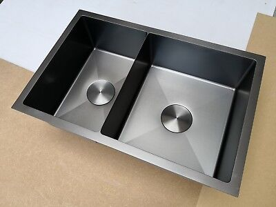 Burnished stainless steel double kitchen sink hand made R10 3 mm thick top mount