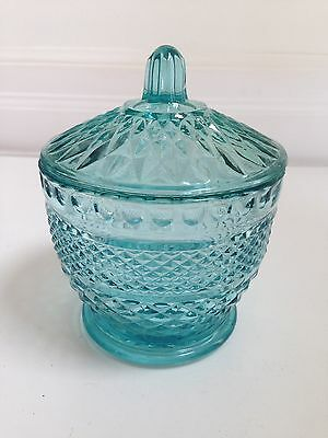 Vintage Pale Blue Pressed Glass Covered Candy Dish